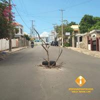 Barahona: Colocan goma y una rama para cubrir tapa de cloaca