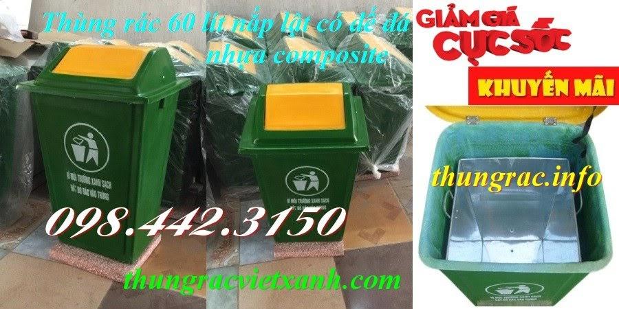 Thùng rác composite 60 lít nắp lật