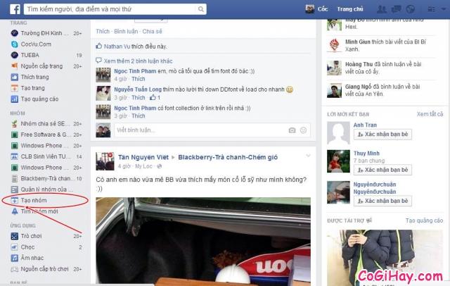 truy cập chức năng tạo group facebook, tạo nhóm facebook
