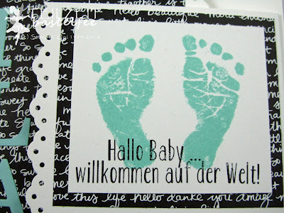 Stampin' Up! - Baby, Geburt, Birth, Girl, Mädchen, Something for Baby, Babyglück, Baby Prints, Baby Bear, Unentbärliche Grüße, Bordürenstanze, Sizzix Junior Alphabet, Framelits Baby's First, Joy Fold Card