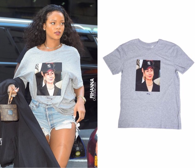 Rihanna wearing Trapvilla Hillary Clinton Top