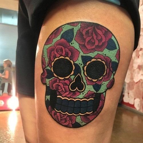 este_colorido_açcar_crnio_tatuagem_para_mulheres