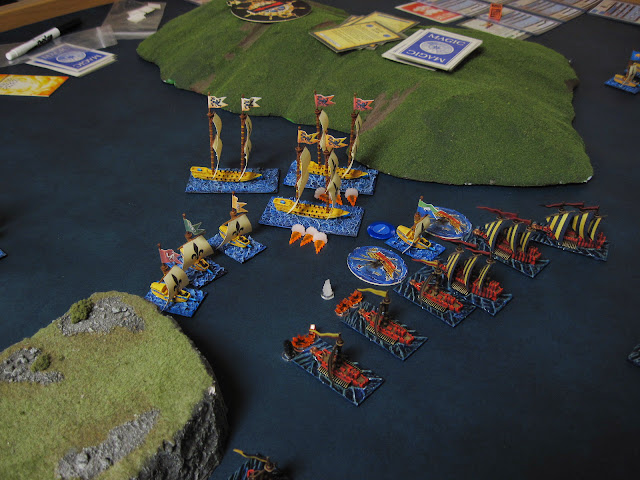 The Corsairs finally unleash hell, reducing a War Galley to a floating barge and taking out the cannons and Oars on another.
