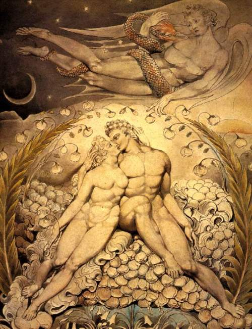 Satan Watching The Caresses Of Adam And Eve By William Blake, William Blake
