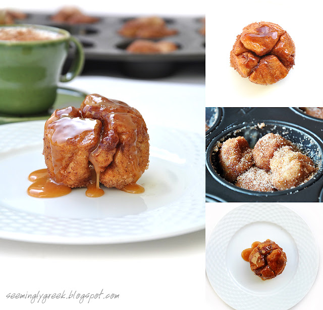 caramel monkey bread 4 Monkey Bread Muffins with Homemade Caramel Sauce