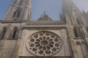 Facade of Chartres in fog