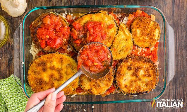eggplant parmesan recipe layered in a casserole dish