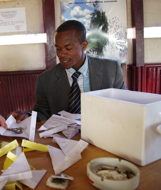 Vendeur d'insectes. Ebogo (Cameroun). 8 avril 2012. Photo : J.-M. Gayman
