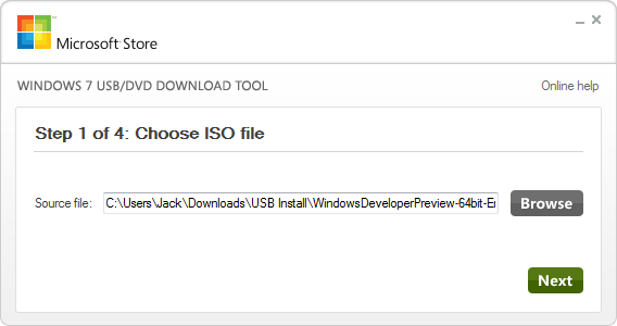 Windows USB Tool Choose an ISO File