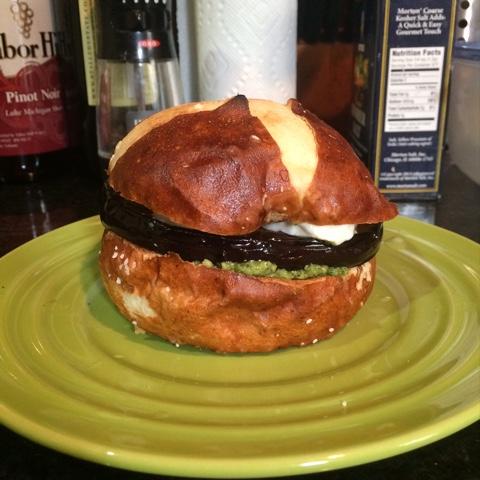 BinomialBaker: Spinach Pesto Eggplant Burger with Mozzarella