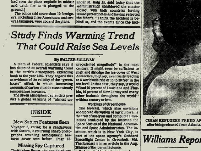 The front page of The New York Times on 22 August 1981, showing a story by Walter Sullivan titled, 'Study Finds Warming Trend That Could Raise Sea Levels'. Graphic: The New York Times