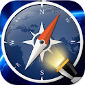 Flashlight with compass alert icon