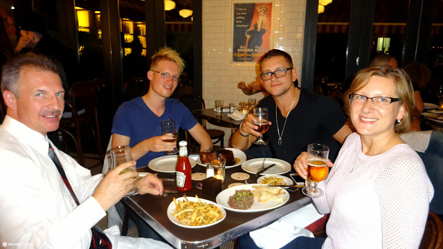 matt, john, mariuz & krystyna celebrating a big moment in Toronto, Ontario, Canada