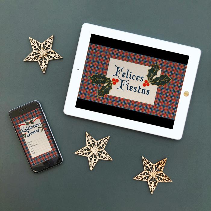 invitación digital cena, fiesta, almuerzo, brunch de Navidad, fondo de Zoom, distanciamiento social, covid-19, cuadros escoceses