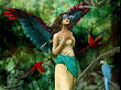 Birds And Mask Fantasy Girl