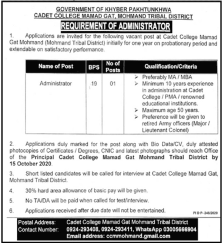 Cadet College Mohmand KPK Jobs October 2020