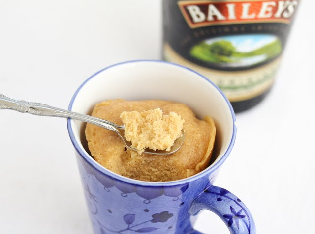 overhead photo of Bailey's Irish Cream Mug Cake