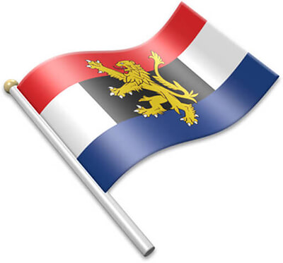 The Benelux flag on a flagpole clipart image