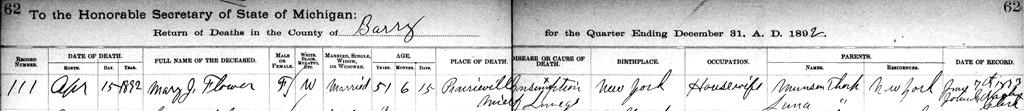[Copy+of+FLOWER_Mary+nee+THORP_death+regi_16+Apr+1892_PrairievilleBarryMichigan%5B8%5D]