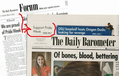 OSU Pride Week front page and p. 7 editorial Barometer, May 5, 2015