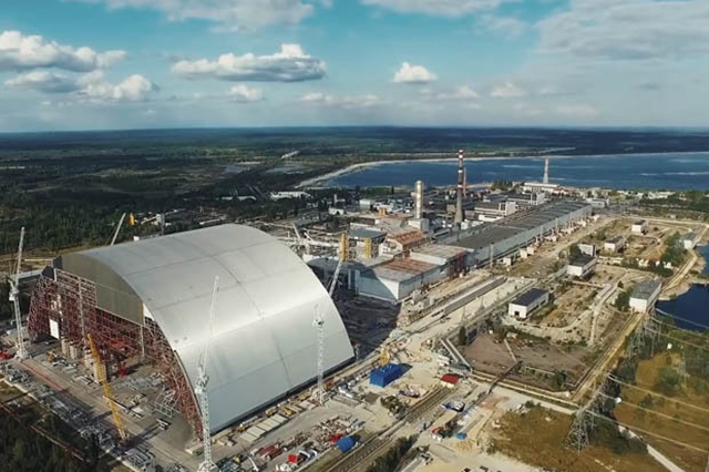 Aerial view of the new 'sarcophagus' structure built over the Chernobyl nuclear plant. Photo: EBRD