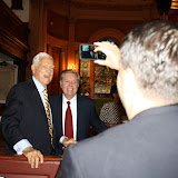Former U.S. Senator Fritz Hollings and U.S. Senator Lindsey Graham pose for a picture.