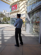 Photo: A bored-look watchman in front of a shopping mall. Often I wonder what are their targets, theft, terrorist, or customer? That's a question, he also says. 3rd October updated -http://jp.asksiddhi.in/daily_detail.php?id=320