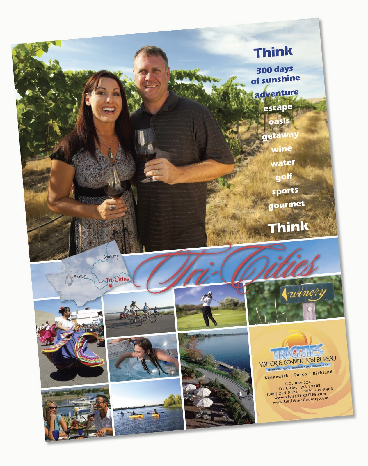 Ad for Washington State Visitor Guide and Washington Wine Press magazine.