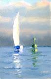 regaty o Puchar Poloneza II, olej, płótno, 20x30 cm