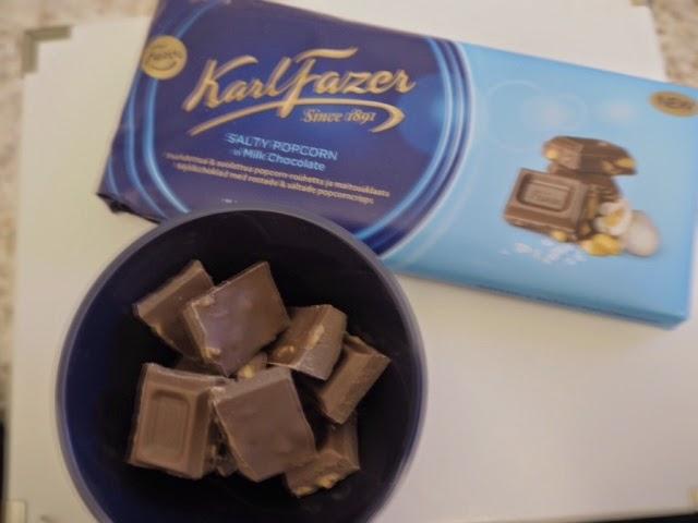 chocolate, suklaa, fazer, fazer suklaa, fazer chocolate, salty popcorn, fazer salty popcorn, uutuus suklaa, suklaa levy, popcorn suklaa