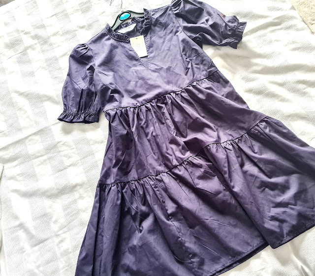 primark navy puff sleeved smock dress