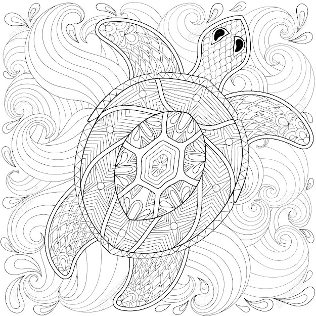 Turtle In Ocean Waves Style Freehand Sketch For Adult Coloring Page  Doodle Elements