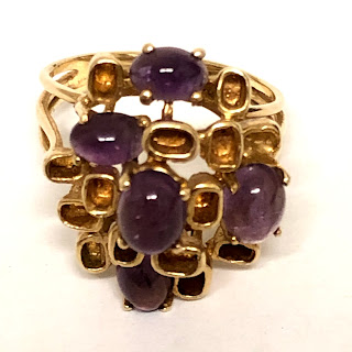 14K Gold and Amethyst Modernist Ring