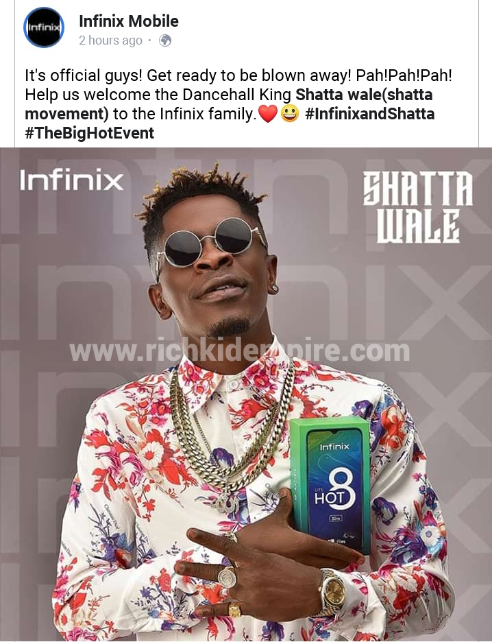 Shatta Wale partners with Infinix Company to empower the community - Richkid Empire Music