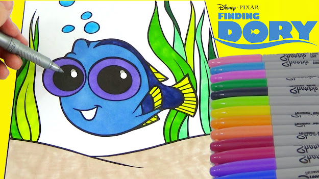 Disney Pixars Finding Dory  How To Draw Baby Dory And Coloring Page  Tuyc