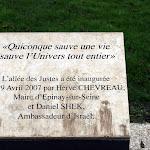 Allée des Justes : plaque commémorative