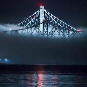 Bay Bridge spans in fog. by Gusty Stambaugh - Transportation Other ( fog, night, bridge, bay bridge, new bay bridge )
