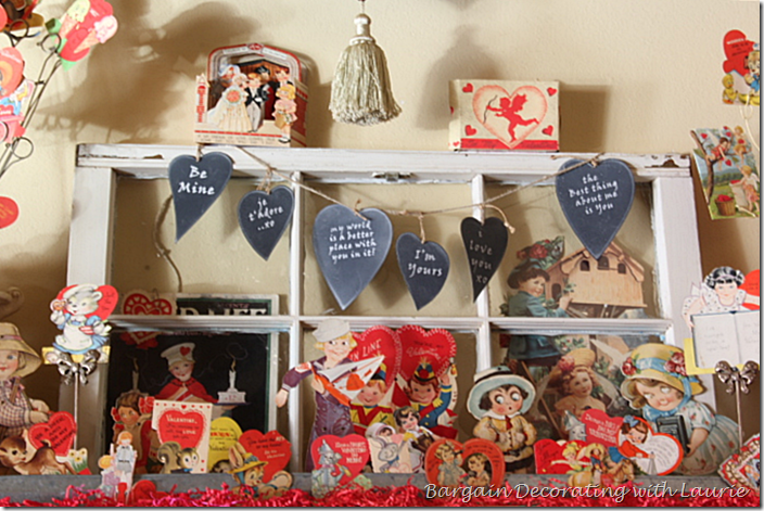 Vintage Valentine cards on mantel