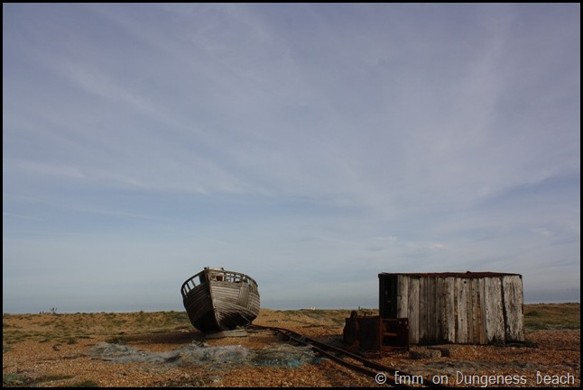 Ship, hut and sky on Dungeness beach