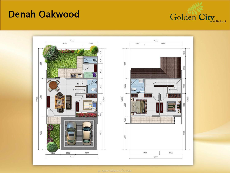 Denah Rumah Cluster Greenwood Golden City Bekasi Tipe Oakwood