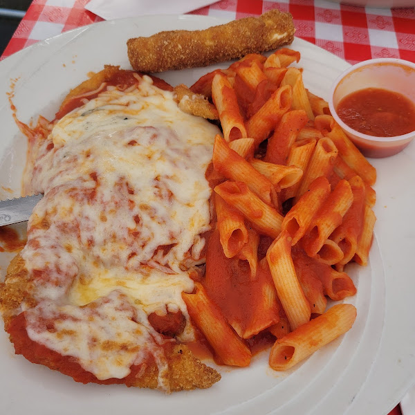 Gluten-free chicken parm, ziti, and mozzarella sticks