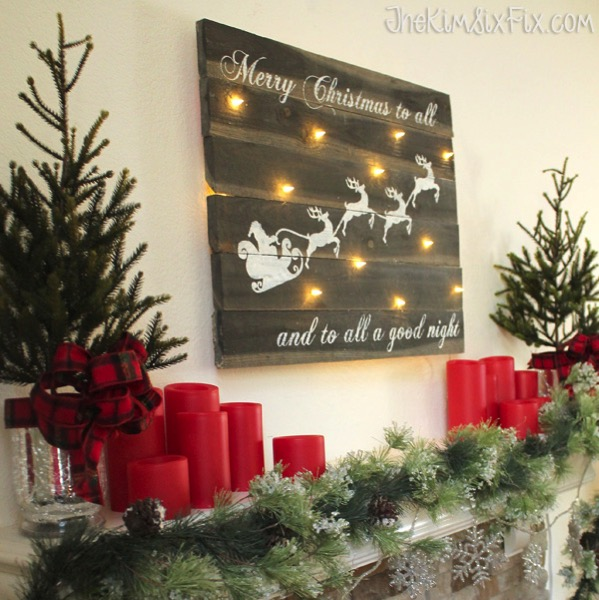 Merry Christmas Santa Sleigh Mantel