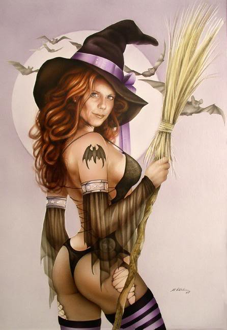 Witch And Bats, Pretty Witches