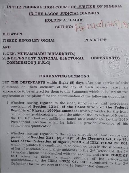 Itsede Okhai Sues Buhari Over The Non Submission Of His Certificates