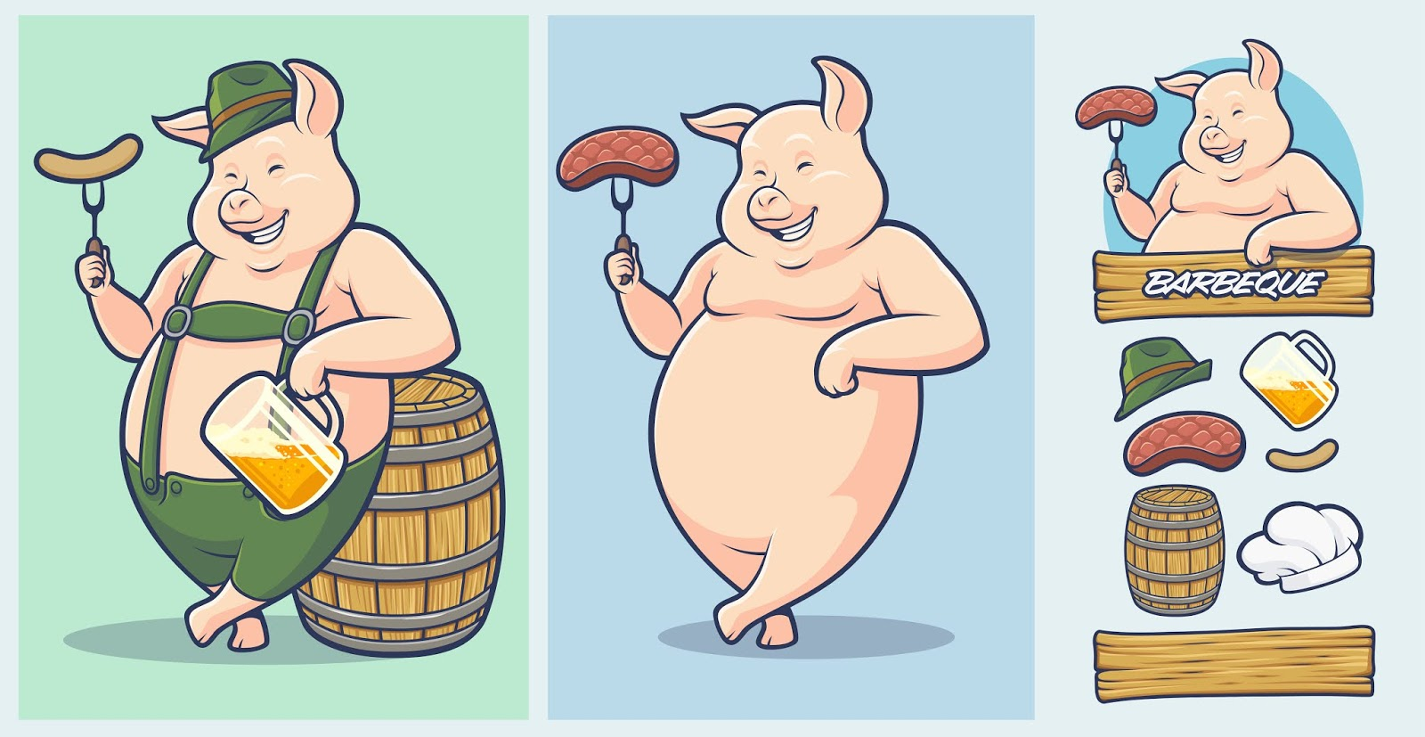 Oktoberfest Pig Mascot With Extra Elements Free Download Vector CDR, AI, EPS and PNG Formats