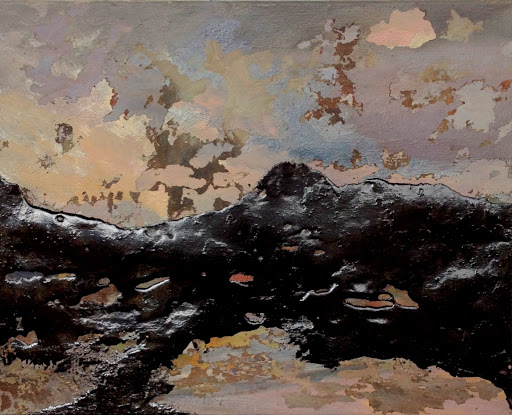 Ancient Slick 2015 excavated oil on linen with rubber paint. Artist Fiona Long