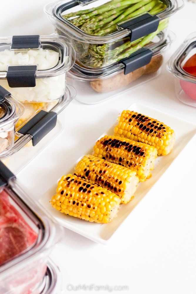 grilled vegetables in storage containers