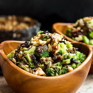 Chopped Broccoli Salad with Balsamic, Walnuts and Cranberries.