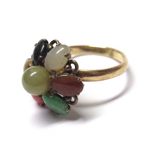 14K Gold & Multicolored Stone Ring