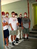 Samantha, Steve, Mac, Aaron, James & Kym in their masks